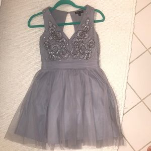 Gray Beaded Top Formal/ Hoco Dress